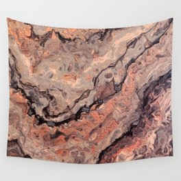 Rose Gold, Black, Grey, and White Paint Pour Waves Wall Tapestry