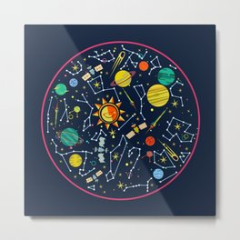 Galaxy of Stars and Planets Metal Print