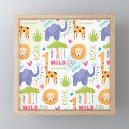 Wild Zoo Pattern Framed Mini Art Print