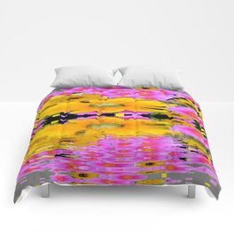 PINK-YELLOW FLORALS REFLECTED WATER ART Comforters