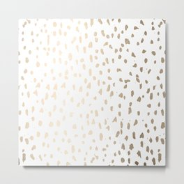 Luxe Gold Painted Polka Dot on White Metal Print