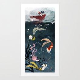 Catfish & Purrmaids Art Print
