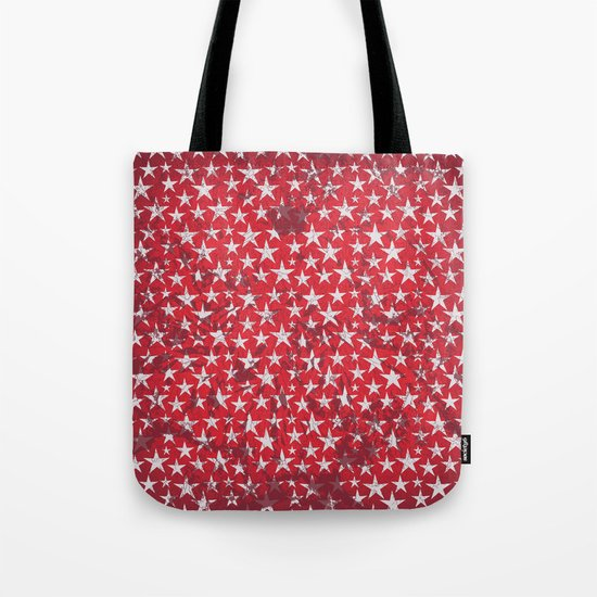 White stars on red grunge textured background  Tote Bag