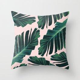 Tropical Blush Banana Leaves Dream #1 #decor #art #society6 Throw Pillow