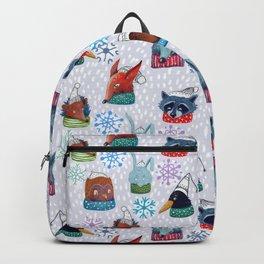 christmas owls, bears, fox, wolf, hare, raccoon, crow, hedgehog in funny hats. Backpack