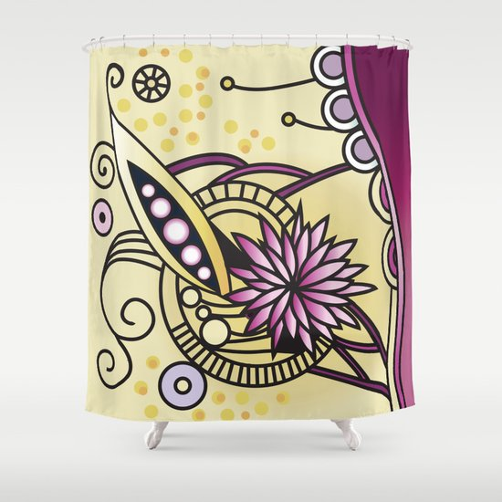 Ornate square zentangle, Naples Yellow Hue Shower Curtain