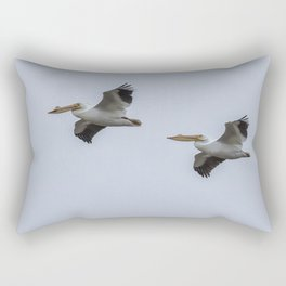 Pair of American White Pelicans in Flight Rectangular Pillow