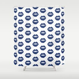Navy Lips Shower Curtain