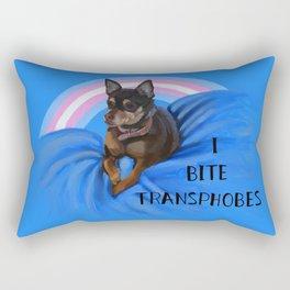 I Bite Transphobes-blue Rectangular Pillow