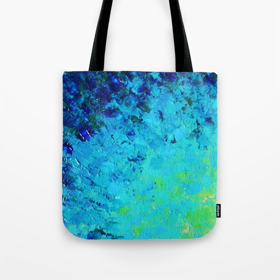 TRUE REFLECTION - Ocean Water Waves Ripple Light Impressionist Bright Colors Ombre Painting Tote Bag