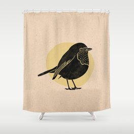 Little Robin. Bird in black with yellow background - Linocut Block Print on Kraft Paper Shower Curtain