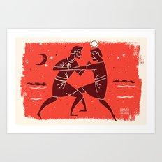 Jacob Wrestles with the Lord (by Luke Bott) Art Print