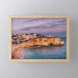 Carvoeiro town and beach in Lagoa, Algarve, Portugal. Framed Mini Art Print