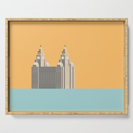 Liverpool Liver Building Print Serving Tray