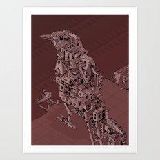 Red Bird Machine City Art Print