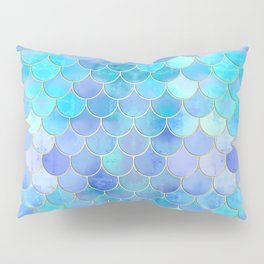 Aqua Pearlescent & Gold Mermaid Scale Pattern Pillow Sham