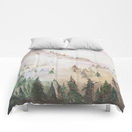 Forêt dans la brume Comforters