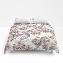 Bohemian vintage rustic brown lavender floral Comforters