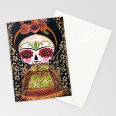 Frida The Catrina - Dia De Los Muertos Painted Skull Mixed Media Art Stationery Cards