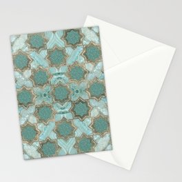 Oriental Tile pattern - Mint Agate and Gold Stationery Cards