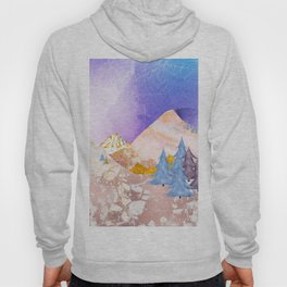 Luxuy Abstract Nature Collage - Metallic Mountains Hoody