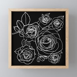 Feminine and Romantic Rose Pattern Line Work Illustration on Black Framed Mini Art Print