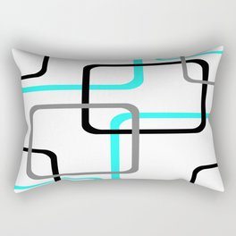 Geometric Rounded Rectangles Collage Teal Rectangular Pillow