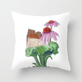Madrid, Broccoli, Echinacea Throw Pillow