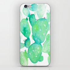 Teal Watercolour Cactus iPhone & iPod Skin