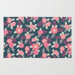Ranunculus gardener garden floral flowers boho navy pink pastel cute pattern dorm college trendy Rug