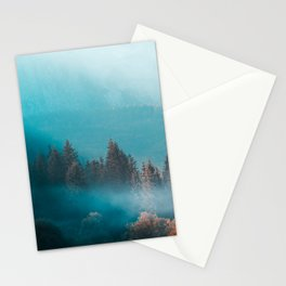 Shining light on foggy autumn forest Stationery Cards