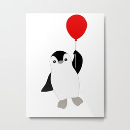 Penguin with a Red Balloon Metal Print