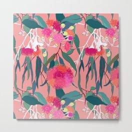 Australian Gumnut Eucalyptus Floral in Dusty Peach Metal Print
