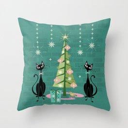 Vintage Kitty Christmas  Throw Pillow