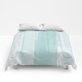 Pale Turquoise Abstract Coastal Colors Painting Comforters