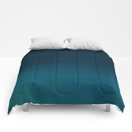 Navy blue teal hand painted watercolor paint ombre Comforters
