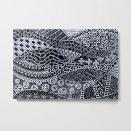 Elegant Silver Geometric Abstract Ethnic Tribal Pattern Metal Print