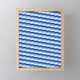Staggered Oblong Rounded Lines Blues and White - Stripe Pattern Framed Mini Art Print