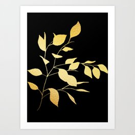 Gold & Black Leaves Art Print
