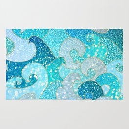 Mermaid Waves And Sea Faux Glitter- Sun Light Over The Ocean Rug