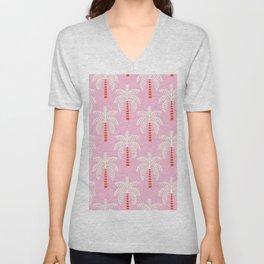 Kitschy Palm Trees on Pink Unisex V-Neck