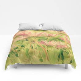 Vintage Spring Coral Pink Daisy Flowers Comforters