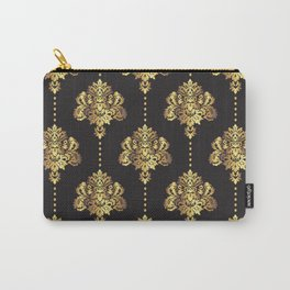 Gold damask flowers and pearls on dark background Carry-All Pouch