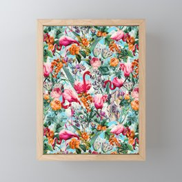 Floral and Flamingo VII pattern Framed Mini Art Print