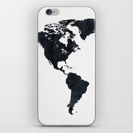 World Map in Black and White Ink on Paper iPhone Skin