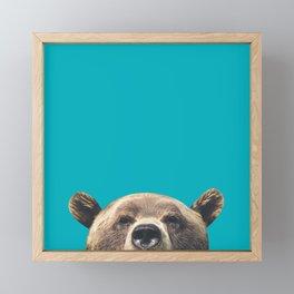 Bear - Blue Framed Mini Art Print