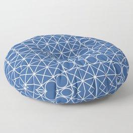 Geometric Tile Pattern Blue Floor Pillow