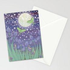 Moonlit stars, luna moths, snails, & irises Stationery Cards