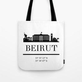 BEIRUT LEBANON BLACK SILHOUETTE SKYLINE ART Tote Bag