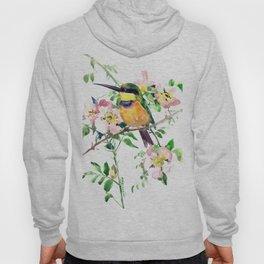 Bee-Eater and Rosehip, birds and flowers, bird art Hoody